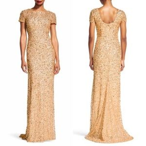 Adrianna Papell Gold sequin scoop neck dress